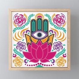 Hamsa Lotus Flower Spiritual Framed Mini Art Print