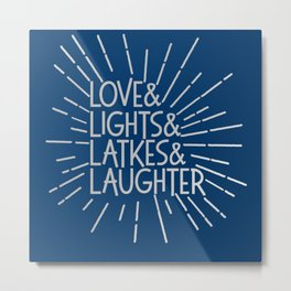LOVE & LIGHTS & LATKES & LAUGHTER Hanukkah ampersand design blue silver Metal Print