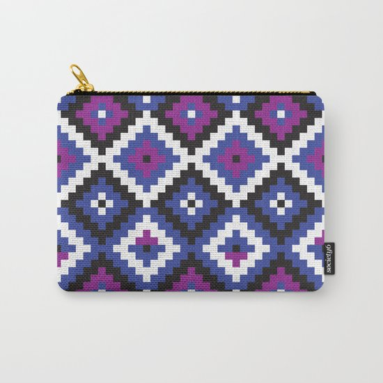 Aztec pattern - blue, purple, black, white Carry-All Pouch