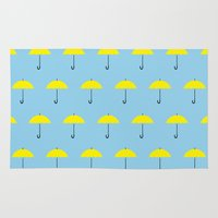 himym Area & Throw Rugs featuring HIMYM Yellow Umbrella by tralalavelling