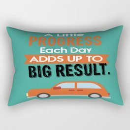 A Little Progress Each Day Adds Up To Big Result Inspirational Motivational Quote Design Rectangular Pillow