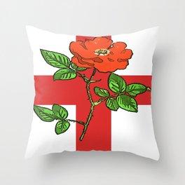 St George Flag and Tudor Rose England Fan Throw Pillow