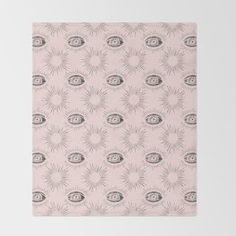Sun and Eye of wisdom pattern - Pink & Black - Mix & Match with Simplicity of Life Throw Blanket
