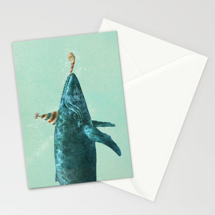 Party Whale - colour option  Stationery Cards