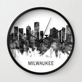 Milwaukee Wisconsin skyline BW Wall Clock