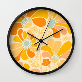 Sunny Flowers / Floral Illustration Wall Clock