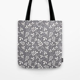 Assorted Leaf Silhouettes Cream on Grey Ptn Tote Bag