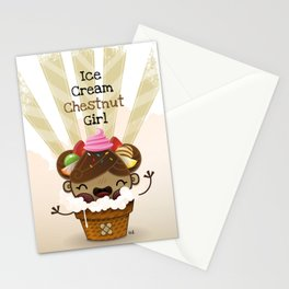 Ice Cream Chestnut Girl Stationery Cards