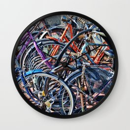 Lots of colorfull bycicles Wall Clock