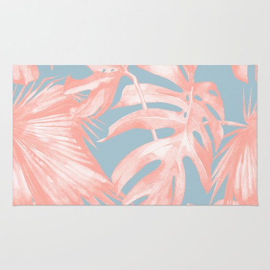 Island Love Coral Pink On Pale Blue Rug By Simple Luxe