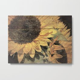 Rustic Yellow Sunflower Flower Country Art Cottage Chic A023 Metal Print