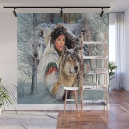 Mountain Woman With Wolfs Wall Mural