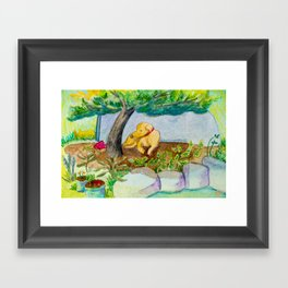 Watercolor dog resting Framed Art Print