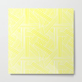 Sketchy Abstract (White & Light Yellow Pattern) Metal Print