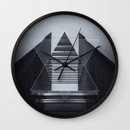 The Hotel (experimental futuristic architecture photo art in modern black & white) Wall Clock