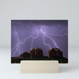 Cathedral Rock Lightning viewed from Little Horse Trail Sedona AZ Mini Art Print