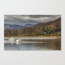 Windermere lakes and boats landscape Canvas Print
