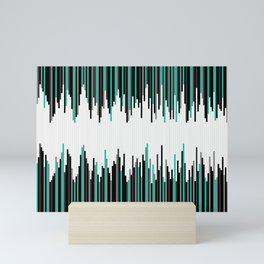 Frequency Line, Vertical Staggered Black, Gray & Teal Line Digital Illustration Mini Art Print
