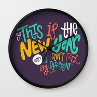 new year Wall Clocks featuring New Year by Chelsea Herrick