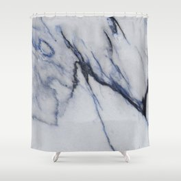White Marble with Black and Blue Veins Shower Curtain