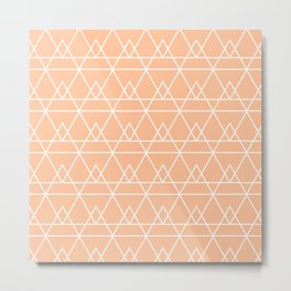 Pyramidal Geometric Minimalist Pattern in Peachy Apricot and White Metal Print