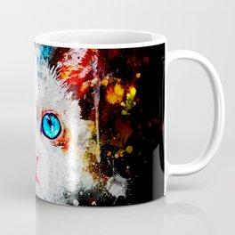 cute cat blue eyes splatter watercolor Coffee Mug