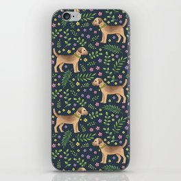 Border Terriers Spring Floral on navy - pattern iPhone Skin