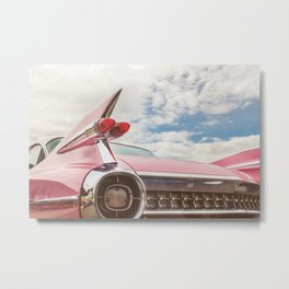 The Pink American Classic Car Metal Print