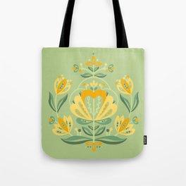 Nordic Green Rose Tote Bag