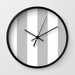Wide Vertical Stripes - White and Silver Gray Wall Clock