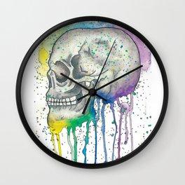 Watercolor Skull Wall Clock