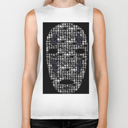 No-Face Mask Typograph Biker Tank