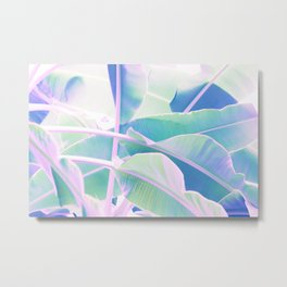 Holographic Banana Leaves Metal Print