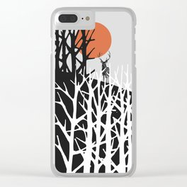 Red sun with deer Clear iPhone Case