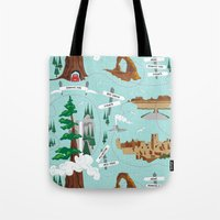parks Tote Bags featuring National Parks by Julie's Fabrics & Thingummies