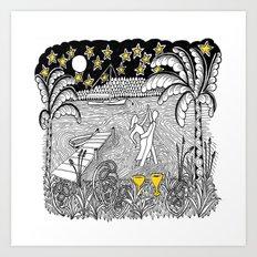 Beach Dancing under Stars Zentangle Style Art Print