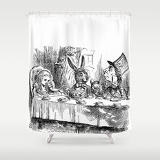 Vintage Alice in Wonderland Mad Hatter & rabbit tea party antique goth emo book gothic drawing print Shower Curtain