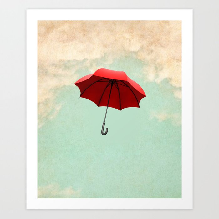 Red Umbrella Art Print