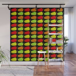 Bulgarian pepper. Pattern and background of colorful peppers on a black background Wall Mural