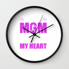 Softball Moms Full Heart Mothers Day T-Shirt Wall Clock