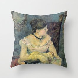 Paul Gauguin - Madame Mette Gauguin in Evening Dress (1884) Throw Pillow