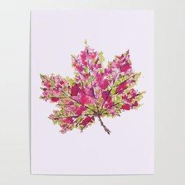 Pretty Colorful Watercolor Autumn Leaf Poster