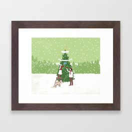 Decorating a tree Framed Art Print