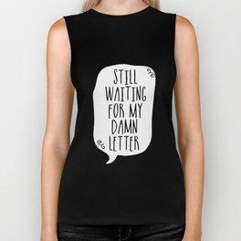 Still Waiting For My Damn Letter - Black and White (inverted) Biker Tank