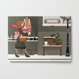 Lily carries Christmas Presents to a Party Metal Print