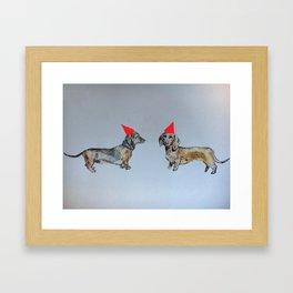 Sausage dog party Framed Art Print