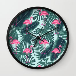 tropical pink flamingo Wall Clock