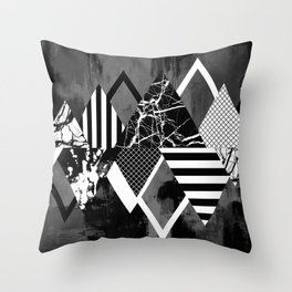 STAND OUT! In Black And White - Abstract, textured geometry! Throw Pillow