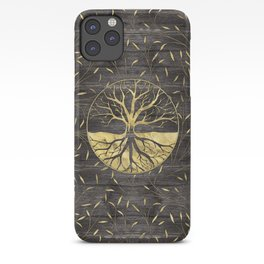Golden Tree of life on wooden texture iPhone Case
