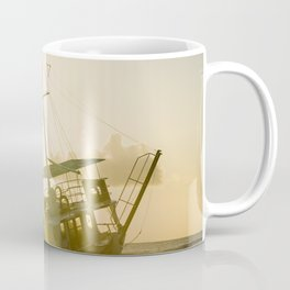 Wrecked boat abandoned stand on beach in RHodes Greece Coffee Mug